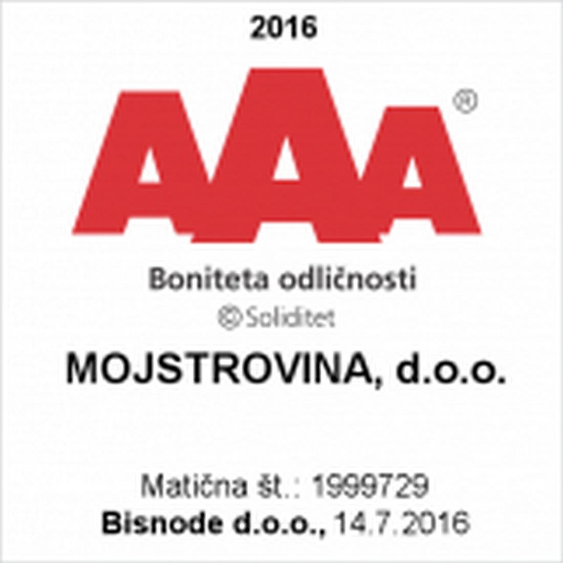 Certifikat bonitetne odličnosti AAA